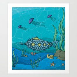 Nautilus under the sea Art Print