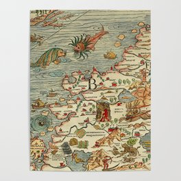 Medieval Map Scandinavia 1539 Poster