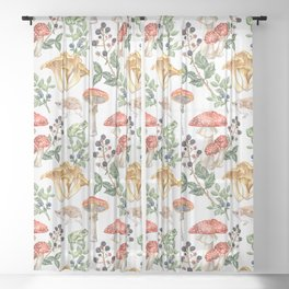 Woodland Mushrooms & Hedgehogs Sheer Curtain