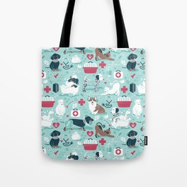 Veterinary medicine, happy and healthy friends // aqua background Tote Bag