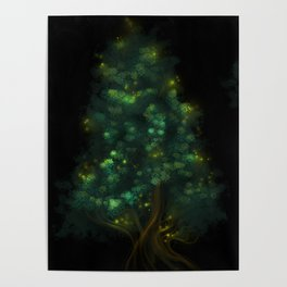 Fireflies Tree Poster