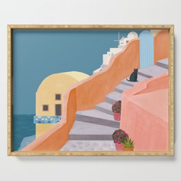 Santorini Pebble Stairs and Houses Serving Tray