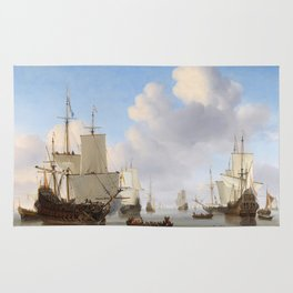 Vintage Ship Oil Painting Rug