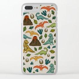 Dinosaur Print, Dino, Jurassic, Jurassic Art, Fossils, Volcanos, T-Rex, Cream Clear iPhone Case