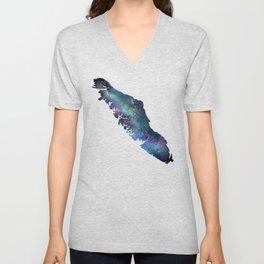 Vancouver Island - Watercolor Galaxy Unisex V-Neck