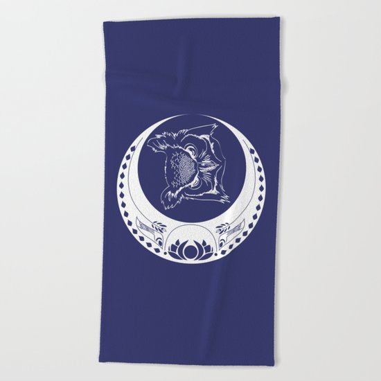 Owl and Moon Beach Towel