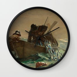 The Herring Net - George's Bank, New England maritime landscape by Winslow H-o-m-e-r Wall Clock