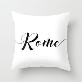 """ Travel Collection "" - Rome Typography Throw Pillow"