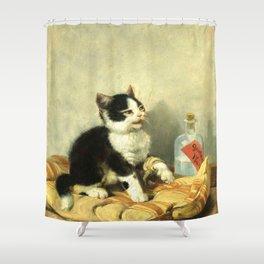 cute kitten 1- Julius Adam - the little patient -1885- pet,whikers,cat,kitty,kitten Shower Curtain