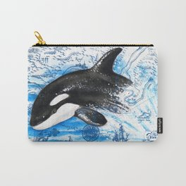 Breaching Baby Orca Watercolor Blue vintage Map Carry-All Pouch