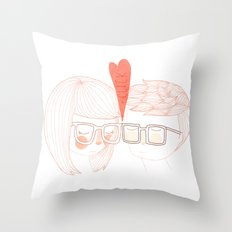Nerd Kiss Throw Pillow