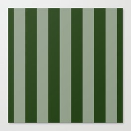 Large Dark Forest Green Circus Tent Stripes Canvas Print