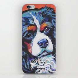 Fun Cavalier King Charles Spaniel Dog bright colorful Pop Art by LEA iPhone Skin