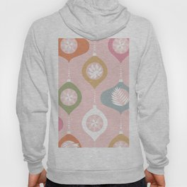 Retro Christmas Baubles Pattern on Pastel Pink Hoody