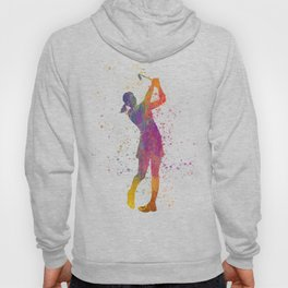 Female golf player competing in watercolor 04 Hoody