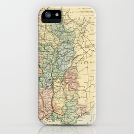 Old Map of the East of France iPhone Case