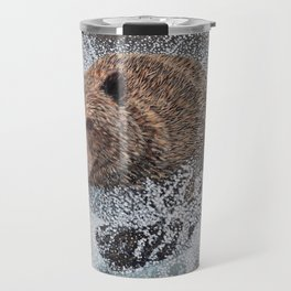 Grizzly Bear Running in the Water Travel Mug