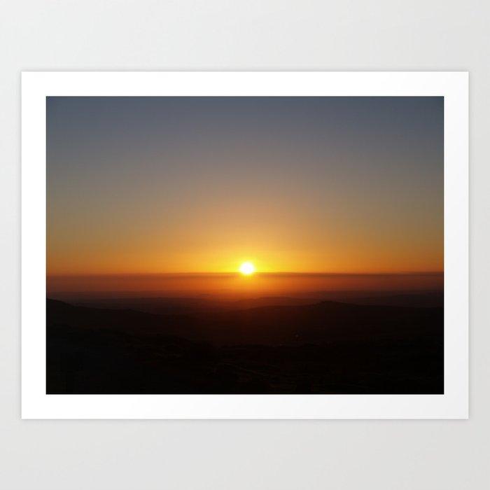 Sunset over moorland hills Art Print