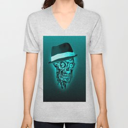 Elegant Skull with hat,mint Unisex V-Neck