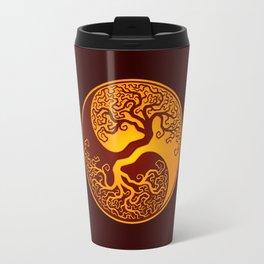 Red and Yellow Tree of Life Yin Yang Travel Mug