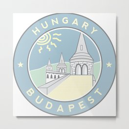 Budapest, Hungary, Fisherman's Bastion, circle blue Metal Print