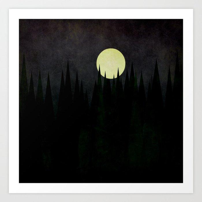 A Moonlit Forest Art Print