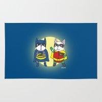 super hero Area & Throw Rugs featuring Super Hero - Frenchy Bat Man by Naamnoi