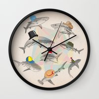 hats Wall Clocks featuring Hats On by Matisse Lin