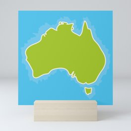 map of Australia Continent and blue Indian Ocean. Vector illustration Mini Art Print