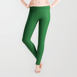 Mid-tone Bright Holiday Green - Shamrock Solid Color Parable to Pantone Water Nymph 20-0187 Leggings