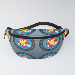 Shooting gallery - Love inside yellow, red, blue, black target Fanny Pack