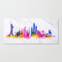 Silhouette overlay city New york Canvas Print