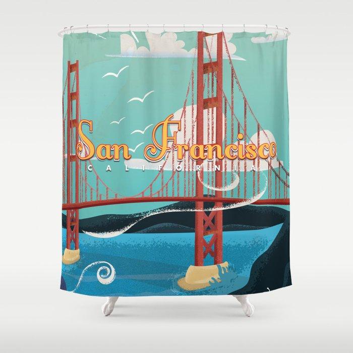 Vintage San Francisco Travel Poster Shower Curtain