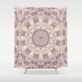 47 Wisteria Circle - Vintage Cream and Lavender Purple Mandala Shower Curtain