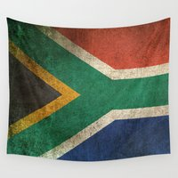 south africa Wall Tapestries featuring Old and Worn Distressed Vintage Flag of South Africa by Jeff Bartels