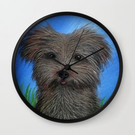 Scruffy Yorkie Dog Portrait Wall Clock