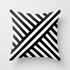 B/W two way diagonal stripes Throw Pillow