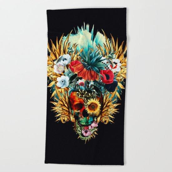 Floral Skull Vivid Beach Towel