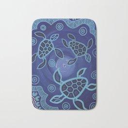 Aboriginal Art Authentic - Sea Turtles Bath Mat
