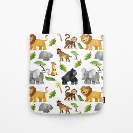 Safari Animals Pattern Watercolor Tote Bag