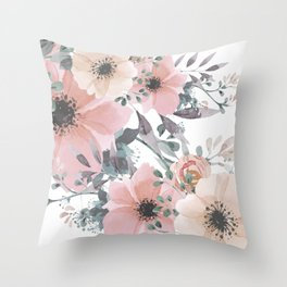 Watercolor, Blush Pink and Peach, Floral Prints Throw Pillow