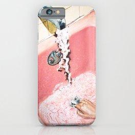 Evening Plans | Vintage Pink Bathroom | Retro Watercolor iPhone Case