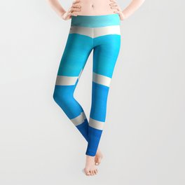 Cerulean Blue Minimalist Watercolor Mid Century Staggered Stripes Rothko Color Block Geometric Art Leggings