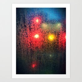 City at Night, Raining Art Print