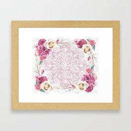 Rose Gold Mandala Garden on Marble Framed Art Print