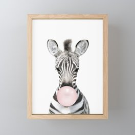 Bubble Gum Zebra Framed Mini Art Print