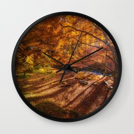 The Golden Autumn Campground (Color) Wall Clock