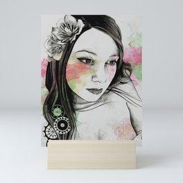 Treasure (young cute girl, magnolia & mandalas) Mini Art Print