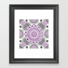 Deep Purple and Black Mandala Pattern Framed Art Print