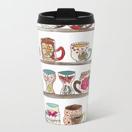 mugs on a shelf Metal Travel Mug